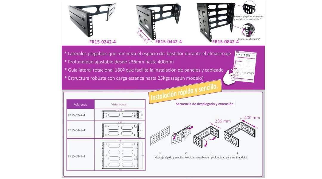 """Nueva gama de bastidores rack 19"""" plegable y profundidad ajustable"""